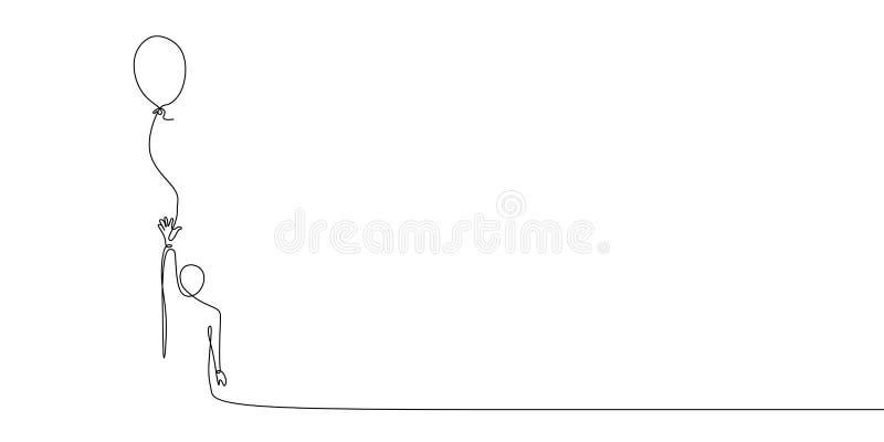 tirando uma linha contínua para liberar o balão ilustração stock