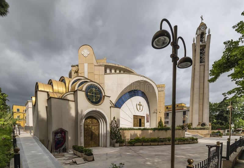 View of Resurrection of Christ Orthodox Cathedral, Tirana, Albania. Tirane, Albania - May 2019: View of Resurrection of Christ Orthodox Cathedral, Tirana royalty free stock images
