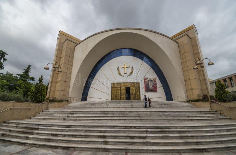 View of Resurrection of Christ Orthodox Cathedral, Tirana, Albania. Tirane, Albania - May 2019: View of Resurrection of Christ Orthodox Cathedral, Tirana royalty free stock photography