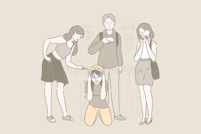 Tiranizar na escola e o problema que tiraniza O adolescente triste que senta-se no assoalho cercado por colegas tiranizou-a ilustração do vetor