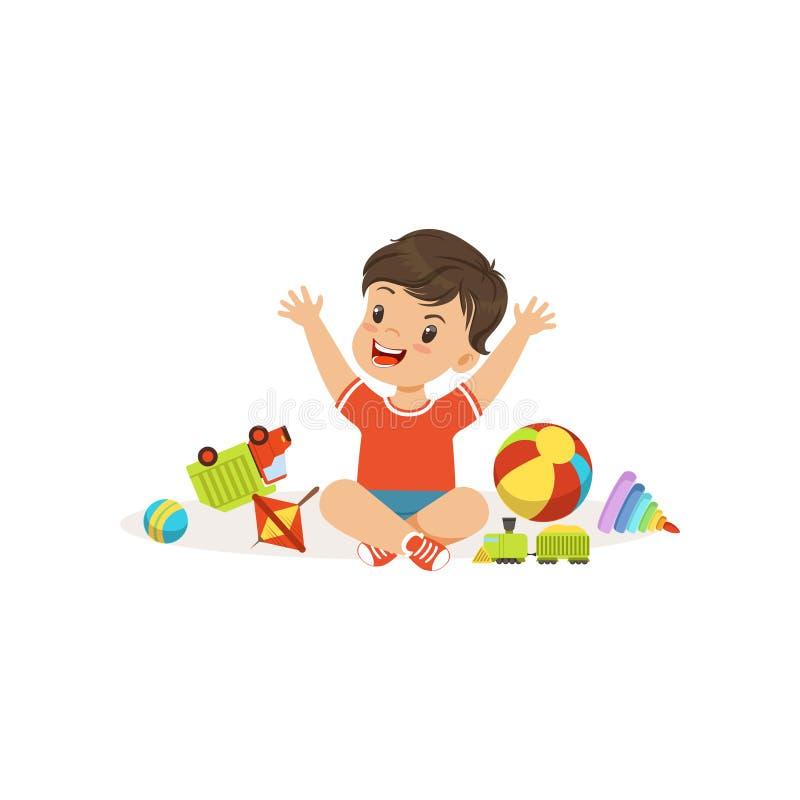 Tiranize o menino que joga e que quebra seus brinquedos, criança alegre das gorilas, ilustração má do vetor do comportamento da c ilustração do vetor