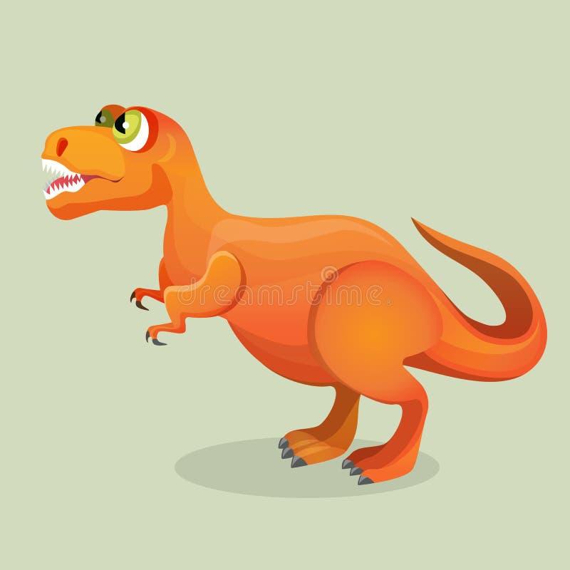 Tirannosauro, lucertola del tiranno isolata su bianco Mostro del carattere dei dinosauri illustrazione vettoriale