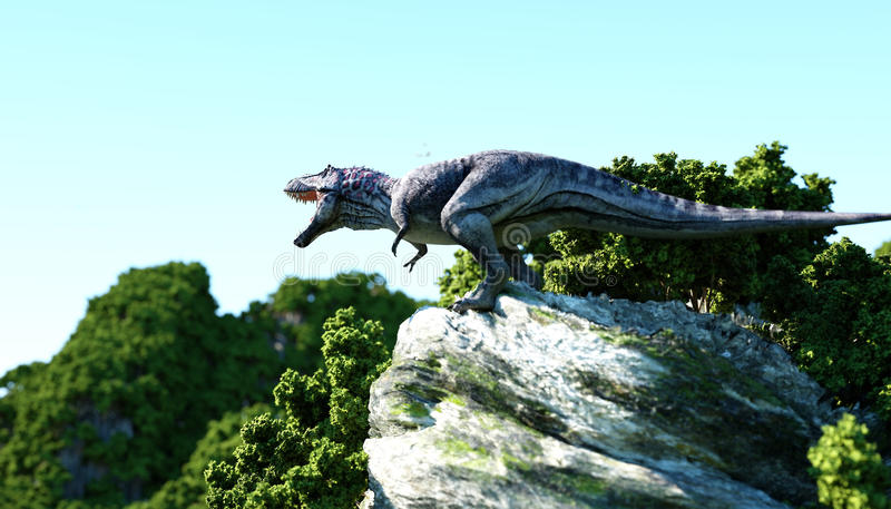 Tirannosauro Rex sulle scogliere rocciose natura preistorica rappresentazione 3d royalty illustrazione gratis