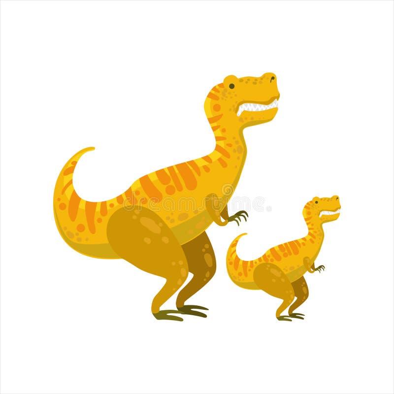 Tirannosaurus Rex Dinosaur Prehistoric Monster Couple av den liknande stora och lilla tecknad filmvektorillustrationen för prov stock illustrationer