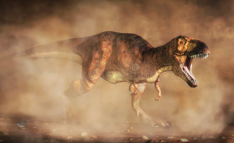 Tiranosaurio en el polvo ilustración del vector
