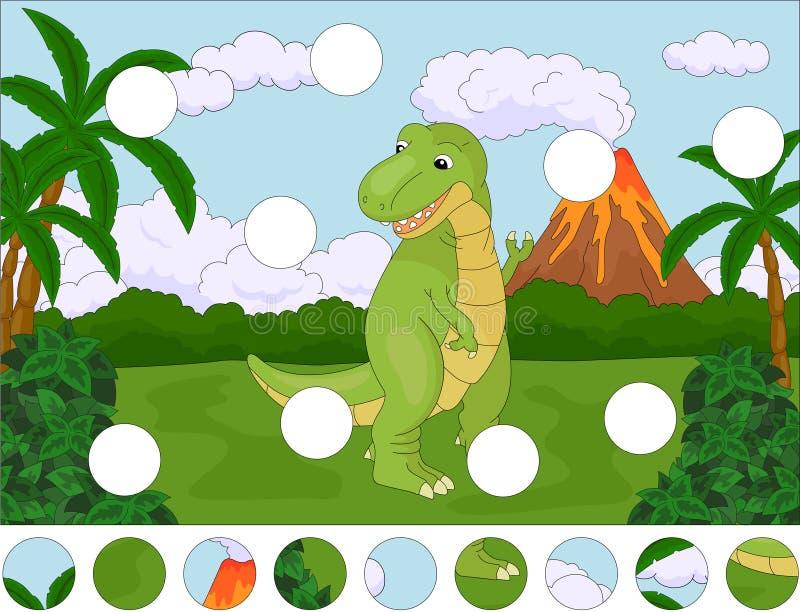 Tiranosaurio lindo divertido en el fondo de un natu prehistórico ilustración del vector