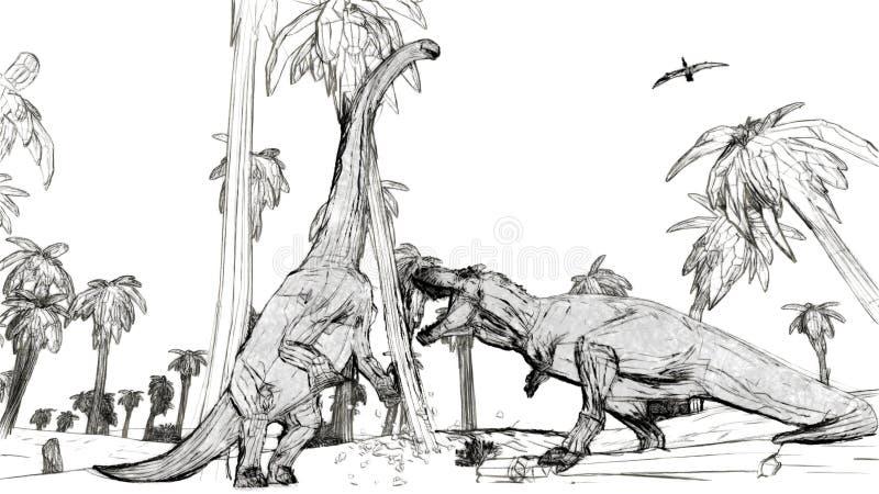 Tiranosaurio que lucha contra diplodocus libre illustration