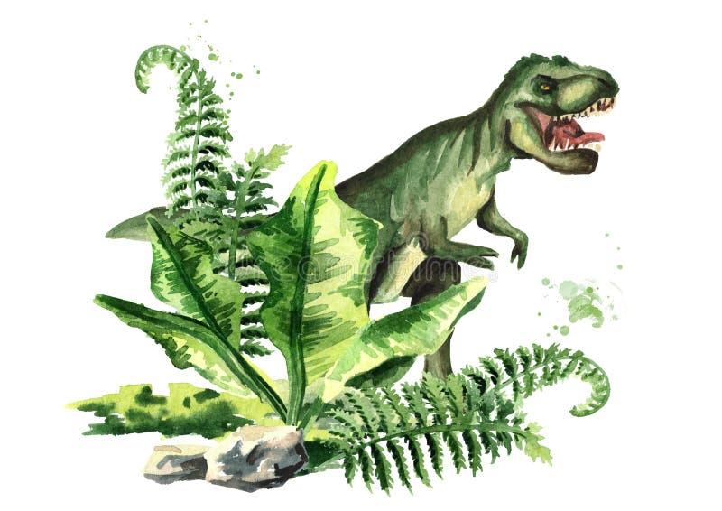 Tiranosaurio Rex del dinosaurio en paisaje prehistórico Ejemplo dibujado mano de la acuarela, aislado en el fondo blanco libre illustration
