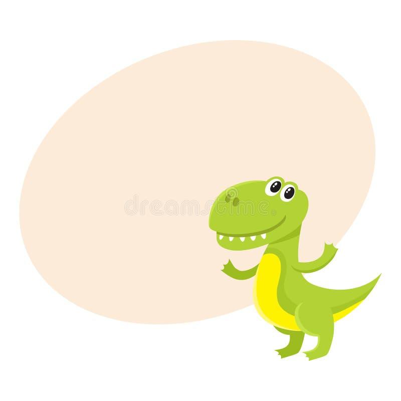 Tiranosaurio sonriente lindo y divertido del bebé, carácter del dinosaurio, elemento de la decoración stock de ilustración