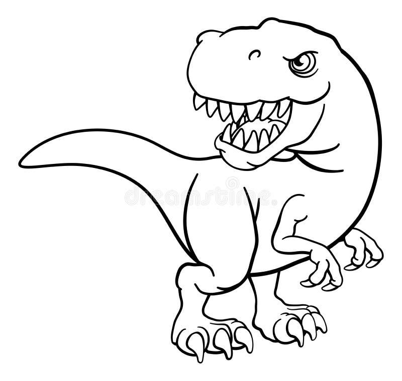 Dinosaurio De T Rex Blanco Y Negro Ilustraciones Stock