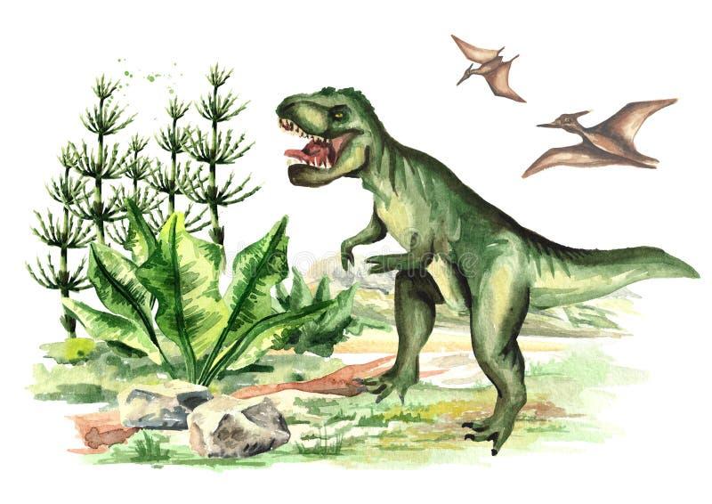 Tiranosaurio y pterodáctilo del dinosaurio en paisaje prehistórico Ejemplo dibujado mano de la acuarela, aislado en el backgrou b ilustración del vector