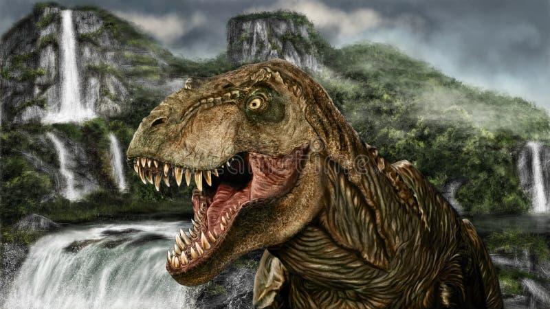 Tiranossauro da pintura ilustração stock