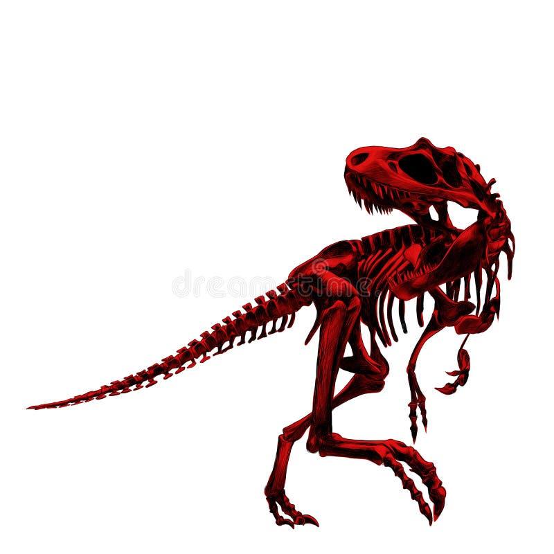 Tiranossauro do esqueleto do dinossauro ilustração stock