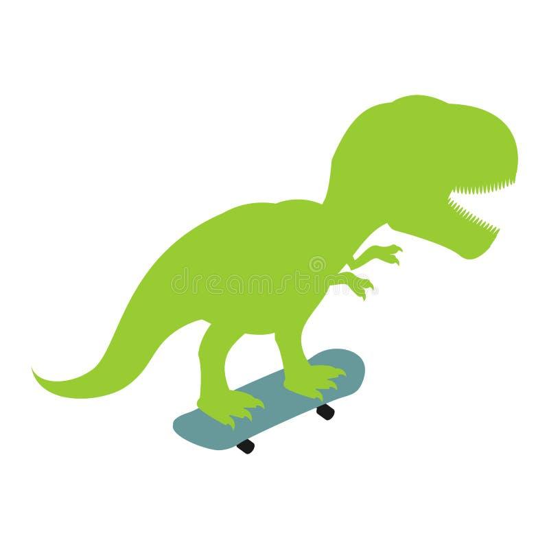 Tiranossauro no skate Dino Skateboarder Rex de T Longboard pré-histórico da equitação do monstro do lagarto ilustração stock