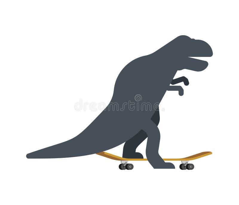 Tiranossauro no skate Dino Skateboarder Rex de T Longboard pré-histórico da equitação do monstro do lagarto ilustração royalty free