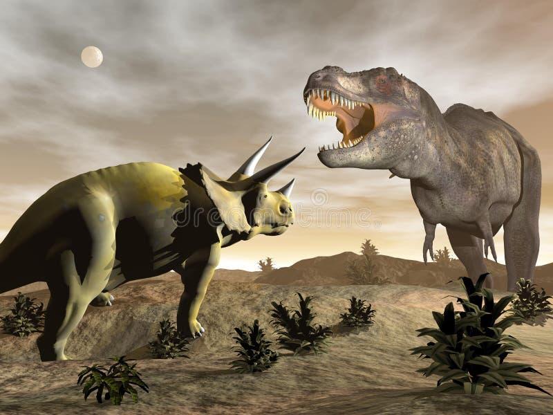 Tiranossauro que ruje no triceratops - 3D rendem ilustração stock