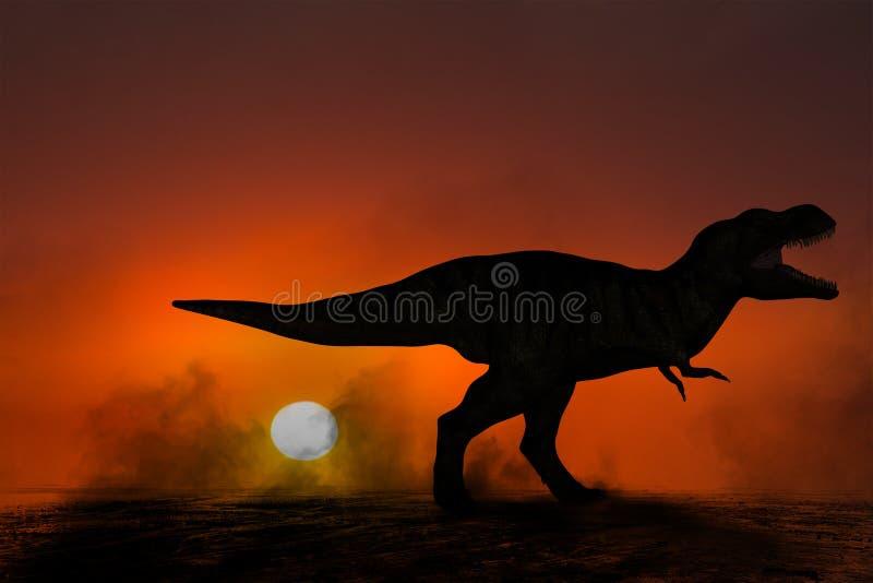 Tiranossauro Rex Dinosaur Sunset Illustration ilustração do vetor