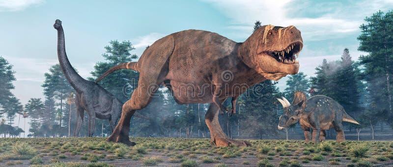 Tiranossauro Rex na selva ilustração royalty free