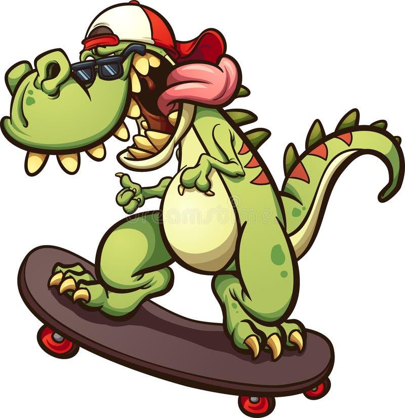 Tiranossauro Skateboarding Rex ilustração stock