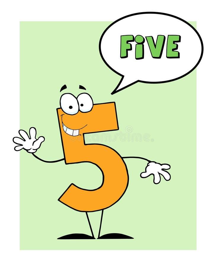 Tirante cinque di numero 5 con la bolla di discorso royalty illustrazione gratis