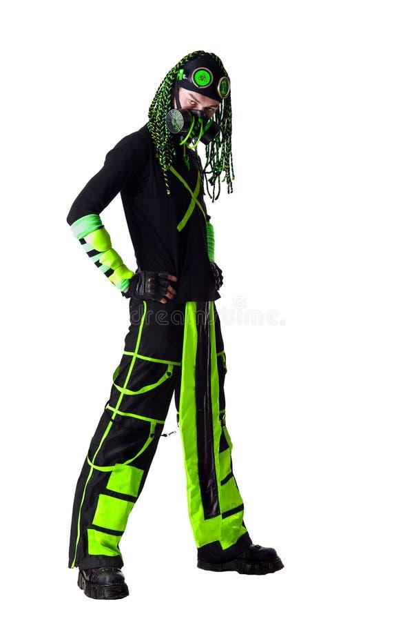 Tirante di Goth di Cyber con i dreadlocks verdi immagine stock