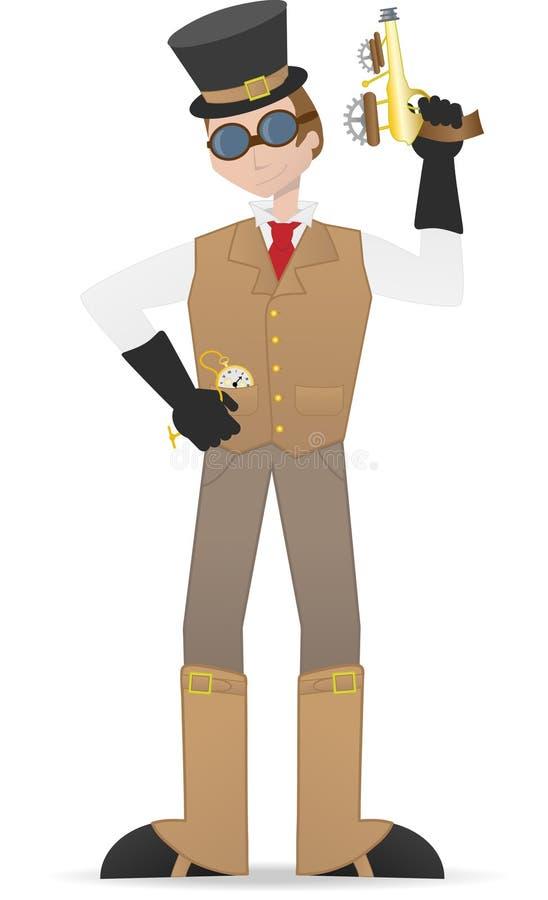 Tirante e vigilanza della holding dell'uomo di Steampunk royalty illustrazione gratis