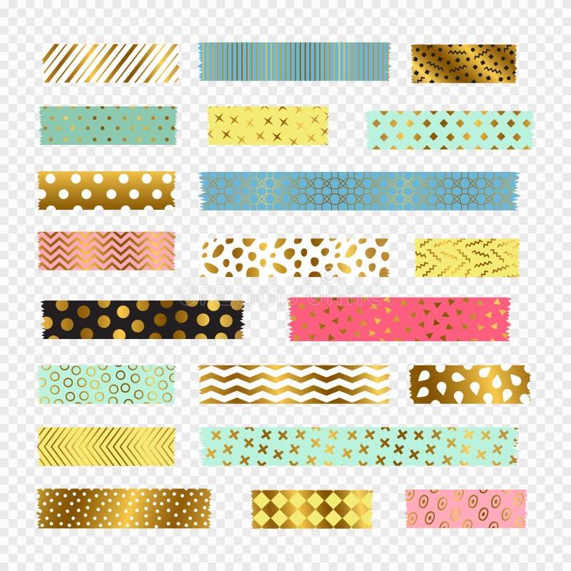 Tiras coloridas, douradas da fita do washi, elementos do álbum de recortes do vetor ilustração stock