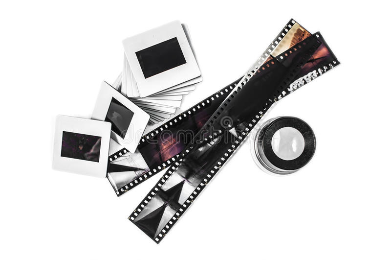 Tiras da corrediça, da lupa e do filme fotos de stock