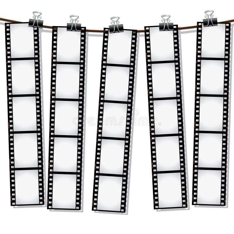 Tiras da película que penduram para fora para secar ilustração do vetor