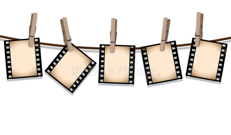 Tiras de la película de la sepia que cuelgan hacia fuera para secarse ilustración del vector