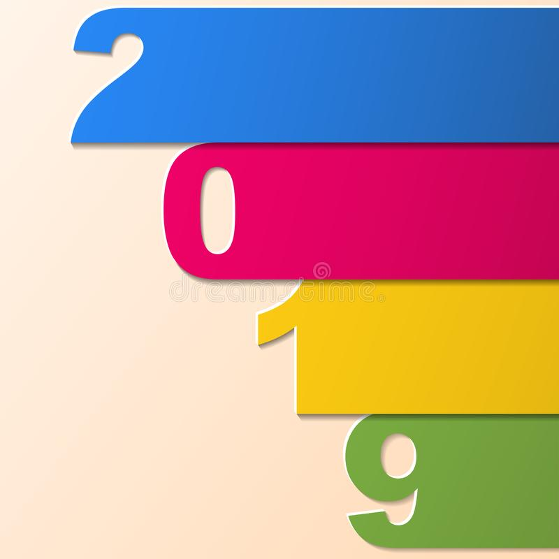 Tiras de papel de la Feliz Año Nuevo 2019 2019 tema colorido, plantilla de la tarjeta Ilustración del vector libre illustration