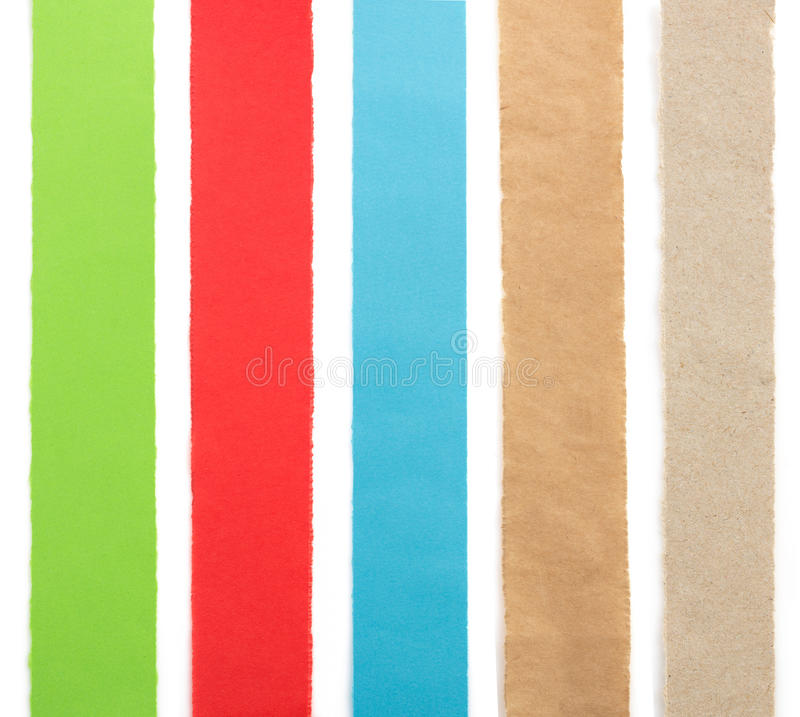 Tiras de papel rasgadas en blanco fotografía de archivo libre de regalías