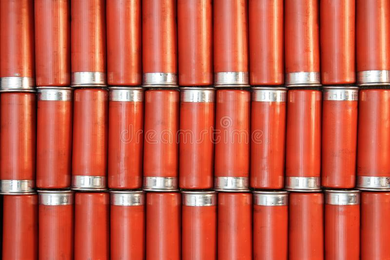 Tiras de perdigones rojos foto de archivo