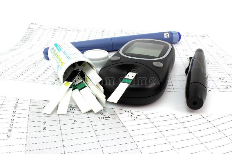 Tiras de prueba de Glucometer e insulina imágenes de archivo libres de regalías
