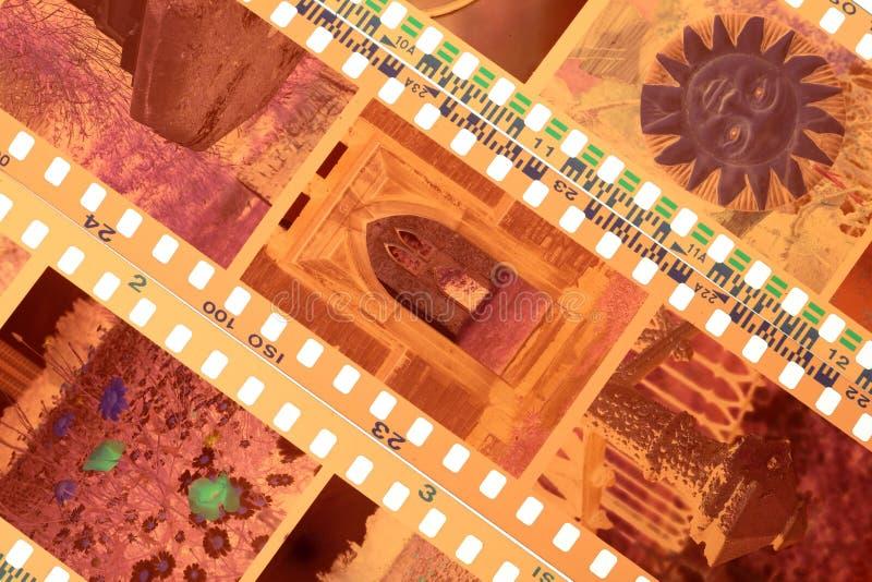 Tiras expuestas de la película negativa del color imágenes de archivo libres de regalías