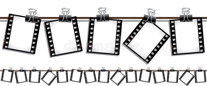 Tiras inconsútiles de la película que cuelgan hacia fuera para secarse ilustración del vector