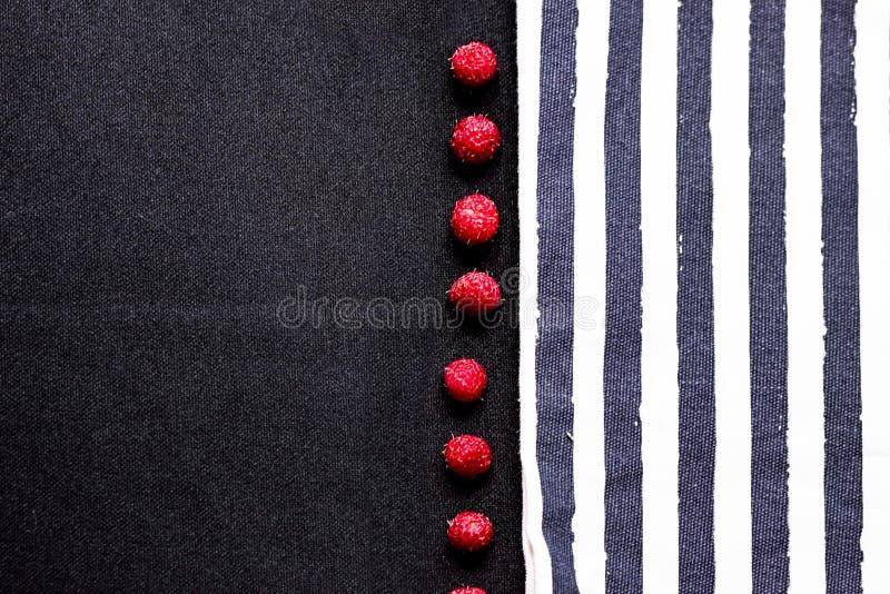 Tiras y frambuesa en la textura de la tela foto de archivo