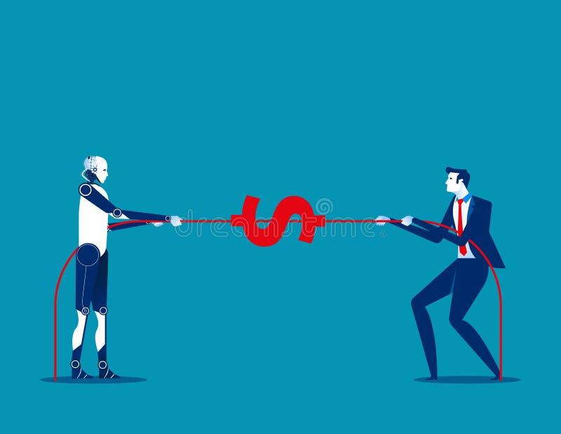 Tirata del robot la corda con l'essere umano Illustra di vettore di affari di concetto illustrazione vettoriale