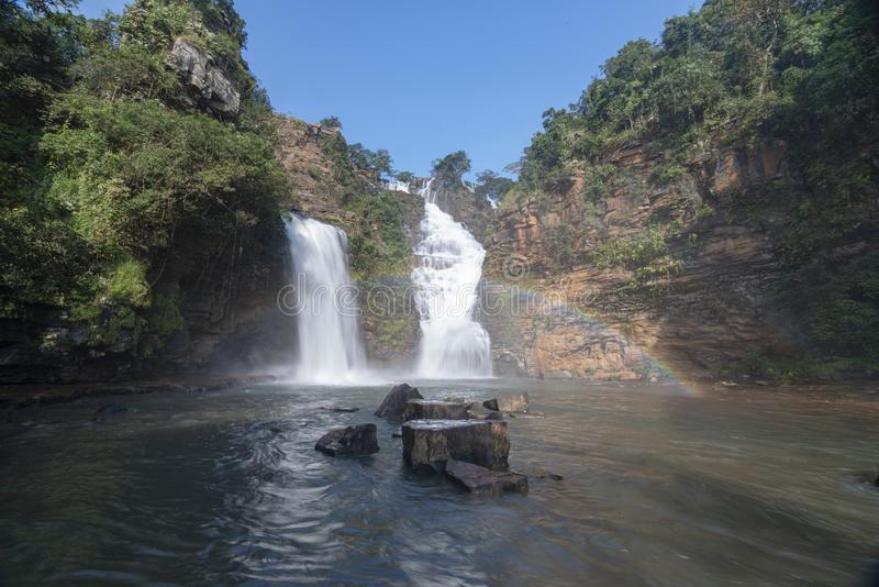 Tirathgarh waterfall on a sunny day near jagdalpur,Chattisgarh,India. Asia royalty free stock photo