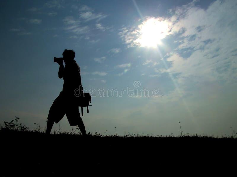 Tiratore contro il sole fotografie stock libere da diritti