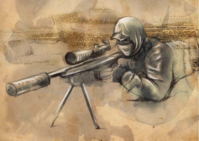 Tiratore (tiratore franco) - un'illustrazione disegnata a mano illustrazione di stock