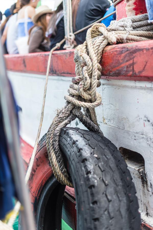 Tire on the boat for safety stock images