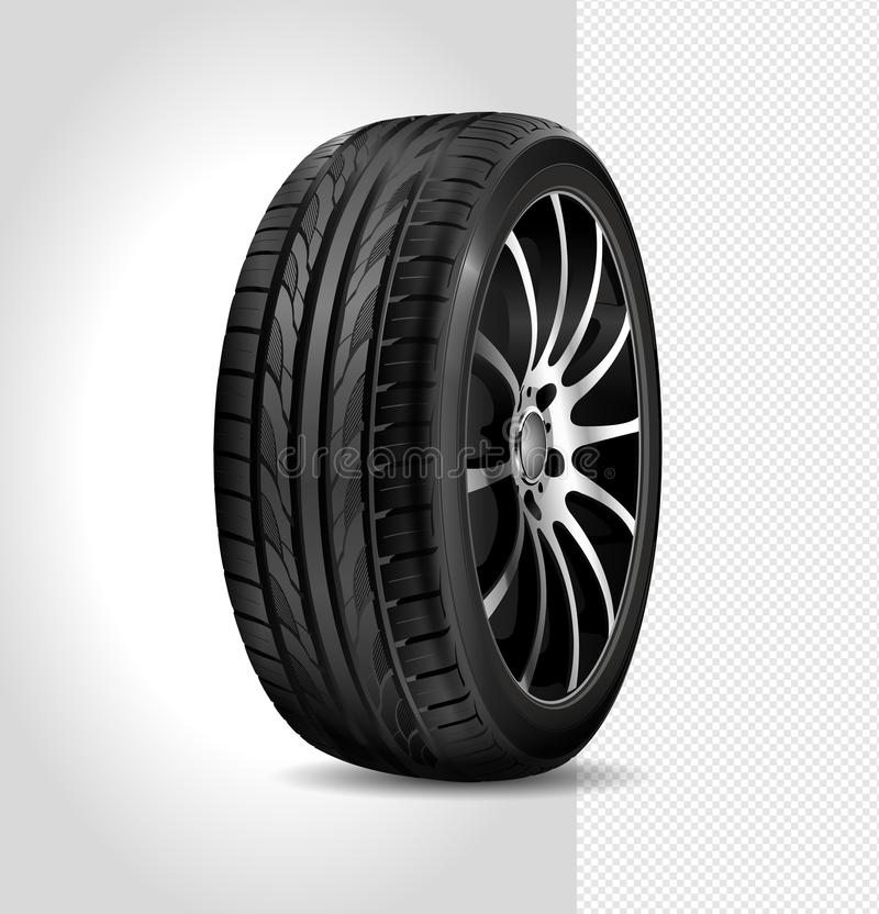 Tire car isolated on white background. Car wheel. Black rubber tire. Realistic shining d stock illustration