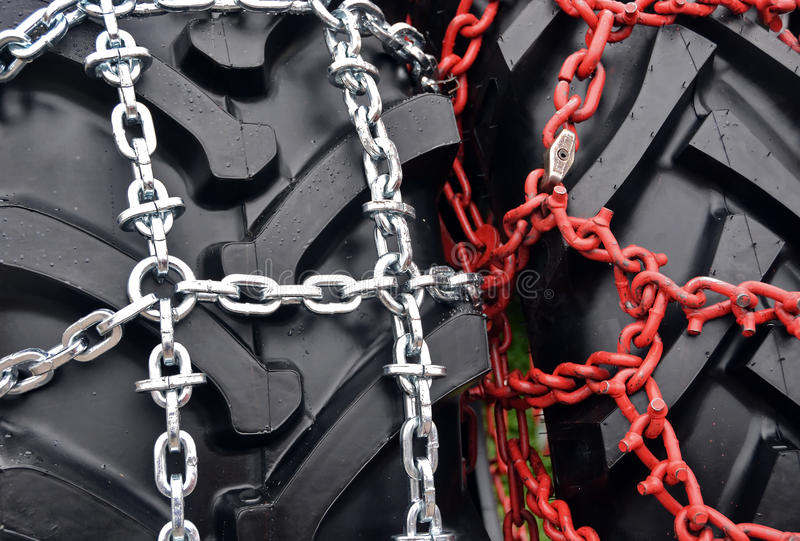 Tire chain. On wheel detail stock images