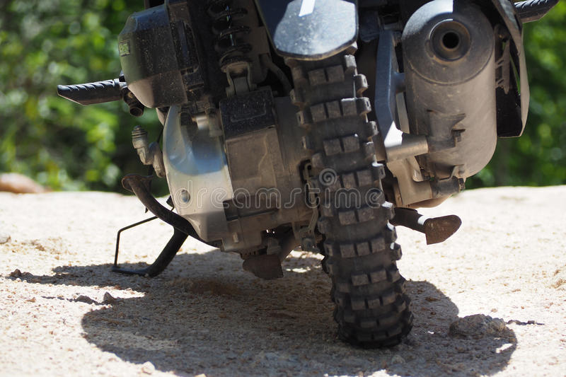 Tire Enduro of motorcycle on hill. Bike stock photos
