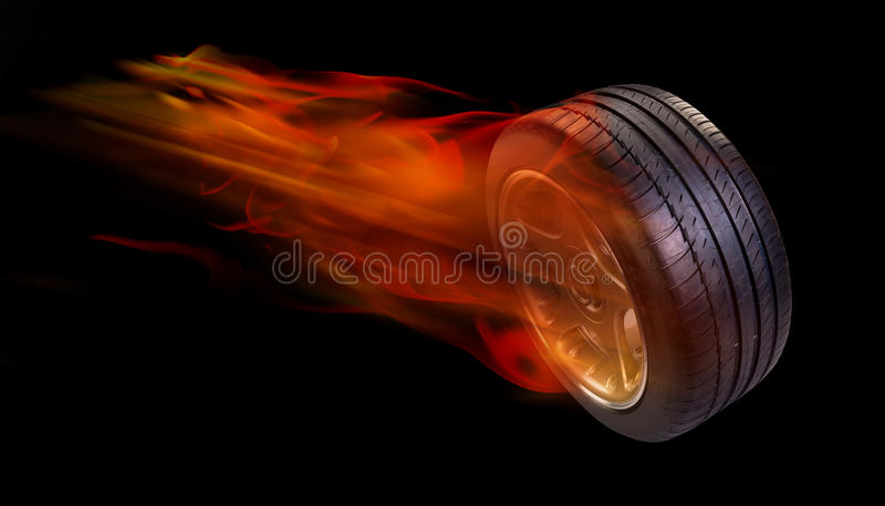 Tire on fire. Car tire burning and on fire stock photo