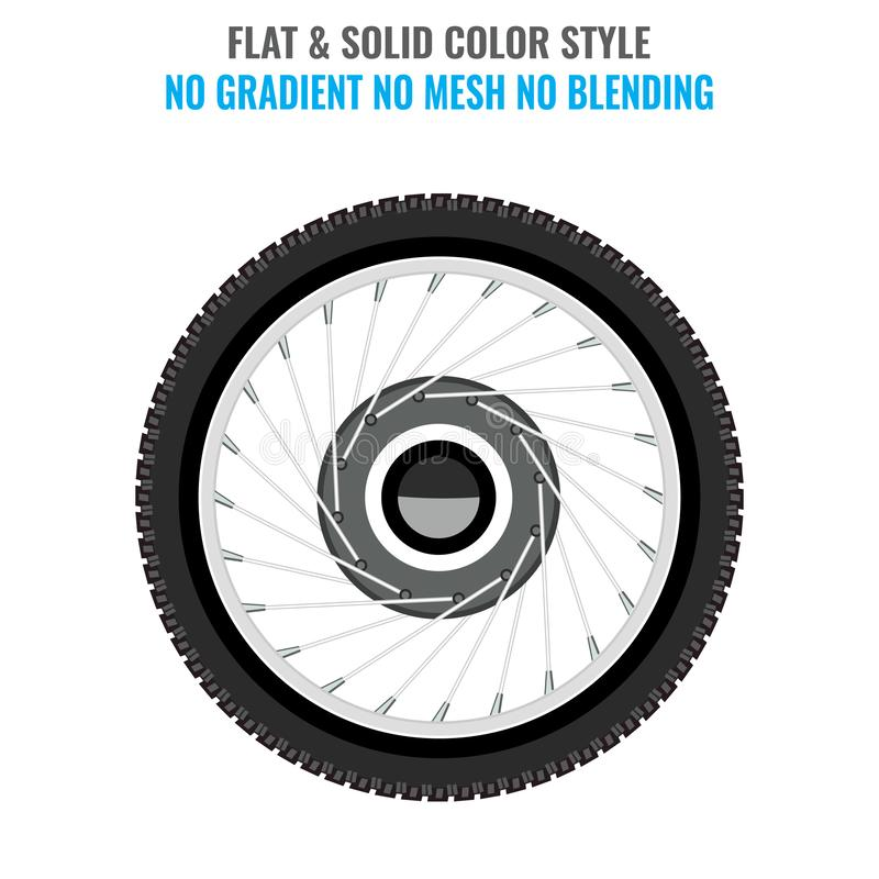 Tire icon with flat and solid color style. Vector illustration. royalty free illustration