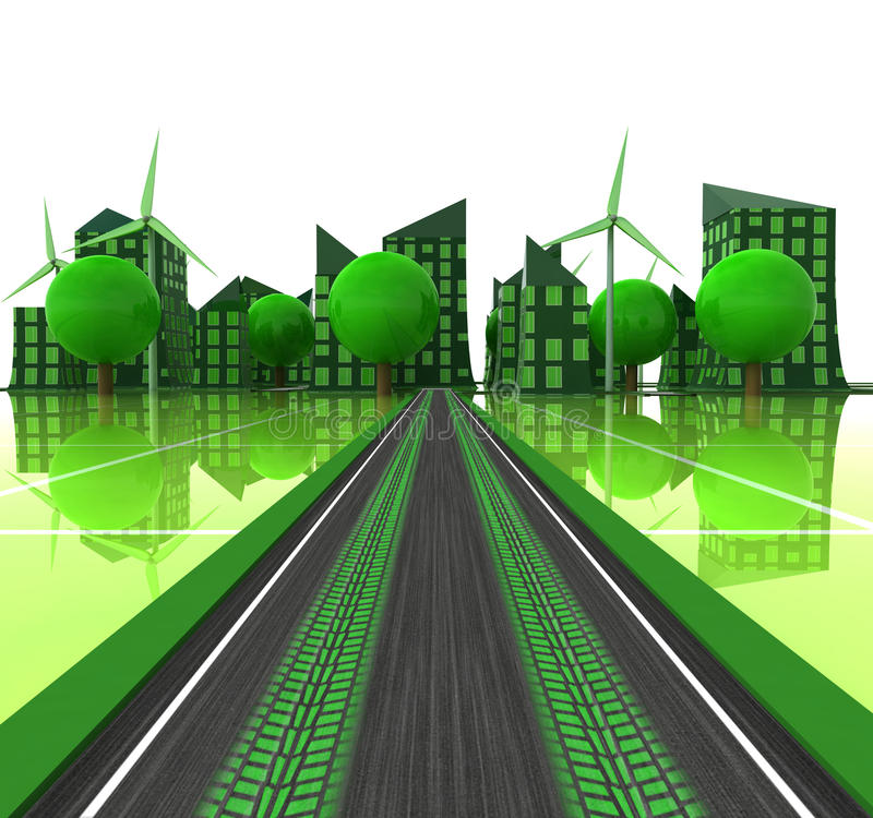 Tire imprint on road leading to green city vector illustration
