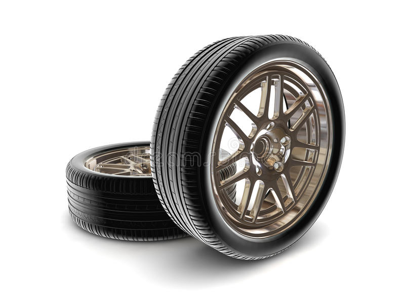 Tire isolated on white stock illustration