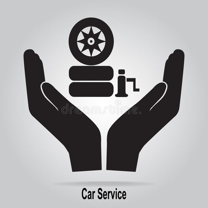 Tire and jack in hand icon. Protection or care, car service concept vector illustration